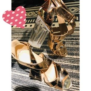 😱 Qupid Metallic Rose Gold Heels 👠